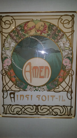 "Alphonse Mucha (Czech, 1860-1939), Amen, Ainsi Soit-il, from ""Le Pater"", 1899, lithograph in colors"