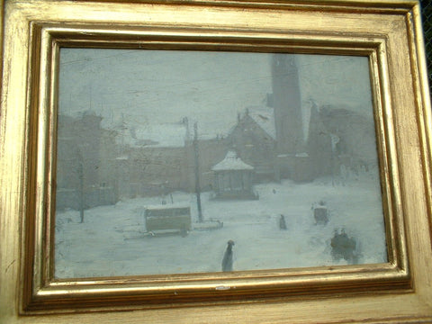 Alson Skinner Clark (American 1876-1949), Town Square in Winter, oil on board, signed
