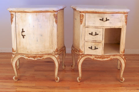 A Pair of Louis XV Style Painted and Gilt Wood Night Tables,  20th Century, in the manner of Maison Jansen