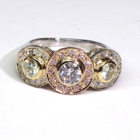 18K Rose, Yellow and White Gold, Pink and Yellow Diamond Three-Stone Ring, contemporary