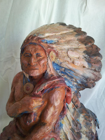 "Harry Jackson (American, 1924-2011), ""Washakie"", painted bronze, edition of 12, cast in 1978, painted and signed"