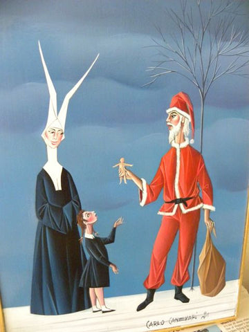 Carlo Canevari (Italian, 1922-1996), Suora e Babbo Natale (Nun with Santa Claus), oil on panel, signed