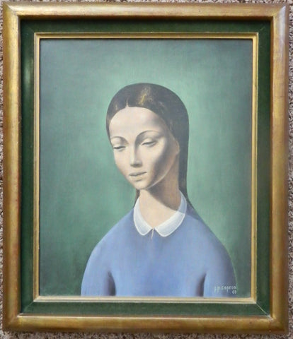 Jean-Pierre Capron (French, 1921-1997), Woman in Blue, 1960, oil on canvas, signed and dated