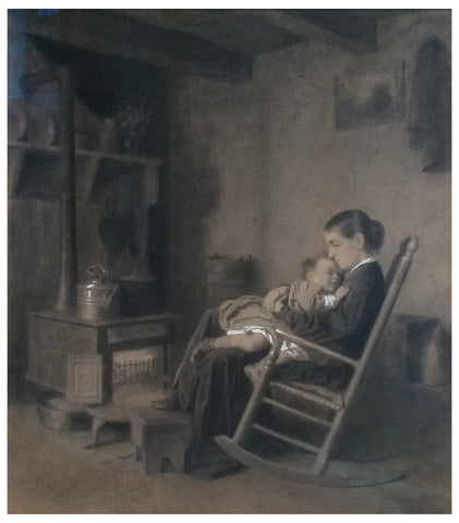 Eastman Johnson (American, 1824-1906), Study after 'Mother and Child', ca. 1869, pencil on paper heightened with white