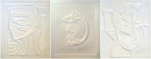 "Anthony Quinn (American, 1915-2001), Three works: ""Irene"", ""Dream Girl"", and ""Lady of Crete"", paper vellum relief, signed, ed. 95"