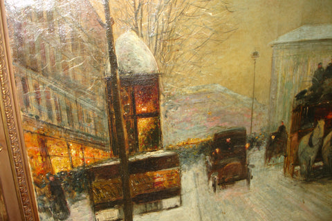 Rudolf Plessner (German, b. 1889), City Snowscene, oil on canvas, signed, early 20th century