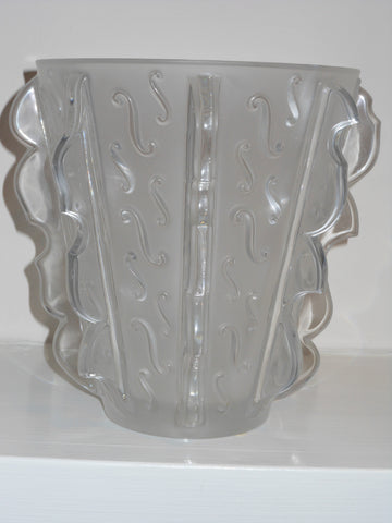 "Lalique Molded and Frosted Glass ""Swing"" Vase, contemporary"