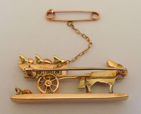 Antique 14K Gold and Gemstone Mule Pulling Cart Brooch, ca. 1910