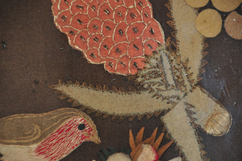 Feltwork Picture Bird with Fruit,  English or American, first half 19th century