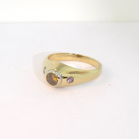 Men's 14K Yellow Gold and Fancy Color Diamond Ring, contemporary