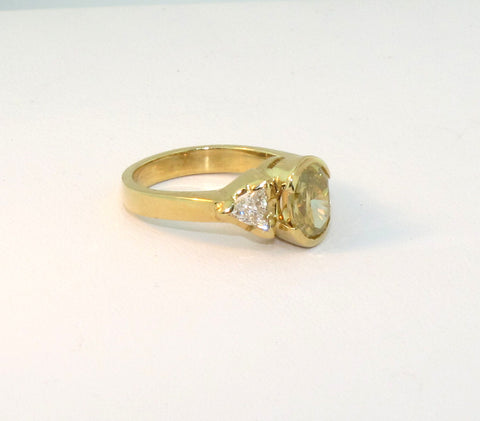 18K Yellow Gold, Yellow and White Diamond Ring, Contemporary, GIA certified