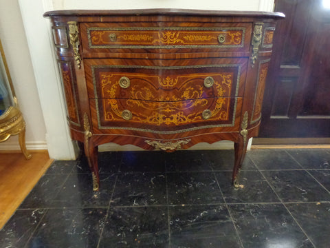 Pair of Louis XV/XVI Transitional Style Marquetry Commodes Continental, 20th century
