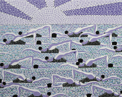 "Walshe (British, b. 1949), ""Lilac Swimmers"", acrylic on canvas"