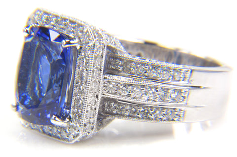 18K White Gold, Tanzanite and Diamond Ring, contemporary