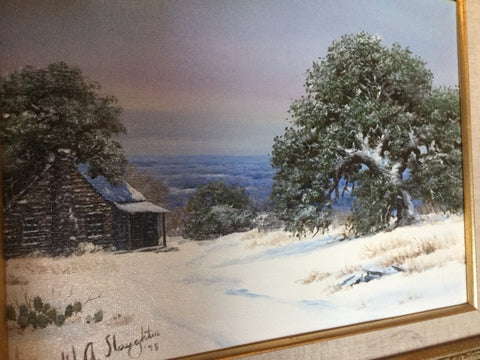 William A. Slaughter (American, 1923-2003), Winter Snow in Texas, 1978, oil on canvas, signed and dated