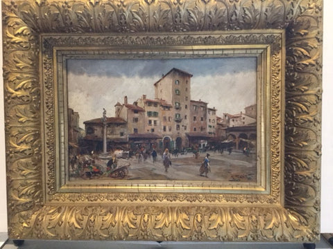 Fabio Fabbi (Italian, 1861-1946), Il Mercato Vecchio, Firenze (The Old Market, Florence), oil on board, signed