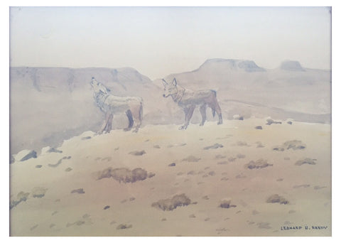 "Leonard H. Reedy (American, 1899-1956), ""Coyotes"", watercolor on paper, signed"