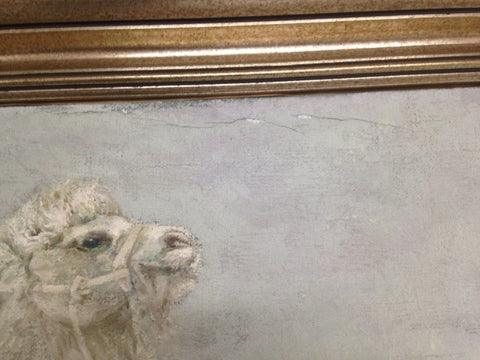 "Jin Gao (Chinese, 1933-2006), ""White Camels"", 1986, oil on canvas, signed and dated"