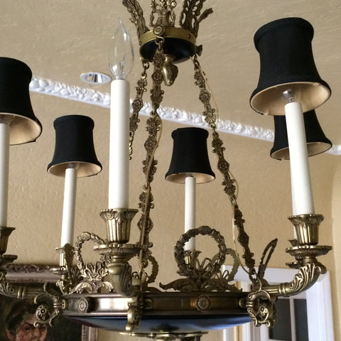 French Empire Style Bronze Six-Light Chandelier,  1920s