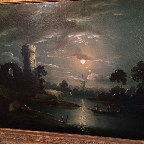 Continental School, mid-19th century,  Pair of Landscapes with Castle, oil on canvas, signed