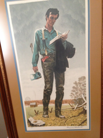 "After Norman Rockwell (American, 1894-1978), ""Young Lincoln"", 1977, lithograph in colors, signed"