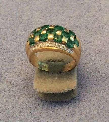 14K Yellow Gold Emerald and Diamond Ring, ca. 1980s