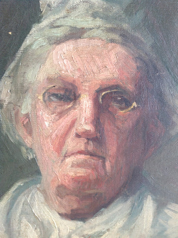 "Portrait of an Elderly Woman, School of William Merritt Chase, bearing a spurious signature ""WM Chase"""
