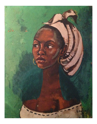 "Geoffrey Holder (American, 1930-2014), ""Negro Head"", 1951, oil on board, signed"