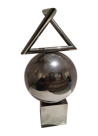 "Yaacov Agam (Israeli, b. 1928), ""Grand Oeil Cosmique"", chrome plated steel kinetic sculpture, signed and numbered"