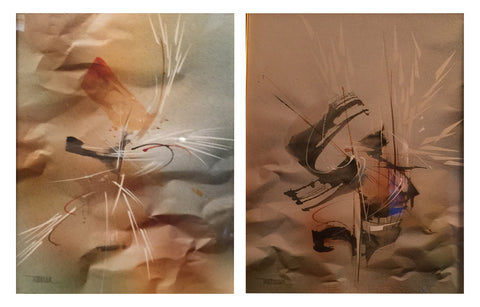 "Leonardo Nierman (Mexican, b. 1928), ""Springtime"" and ""Flight in the Mist"", two watercolors, signed"