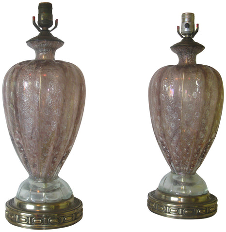 Two Italian Murano Aubergine Bullicane Art Glass Table Lamps, Barovier & Toso, Italian, 20th century