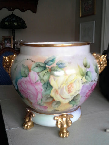 French Porcelain Double-Handled Jardinière and Base J. Pouyat, Limoges, ca. 1906