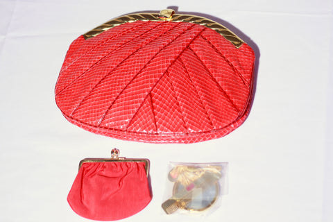 Judith Leiber Red Snake Skin Evening Bag, 20th century, with accessories