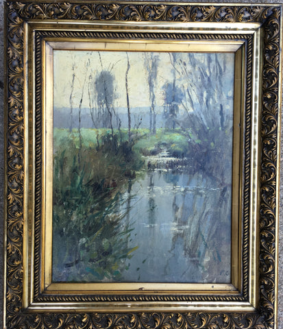 Paul Cornoyer (American, 1864-1923), A Sunlit Stream in Spring, ca. 1898, oil on canvas, signed