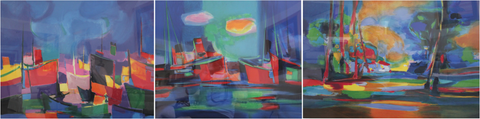 "Marcel Mouly (French, 1918 - 2008), Group of three lithographs in colors: ""Le Port Bleu Aux Bateaux Rouge,"" ""La Nuage Jaune,"" ""Le Maison dans le Clairiere,"" 2001-2003, each signed and from the edition of 300"