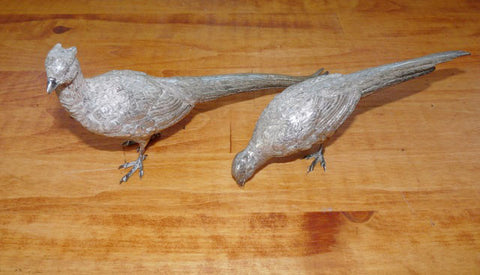Pair of English Silver Pheasant-Form Table Ornaments, Asprey's, London, 20th century