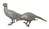 Pair of English Silver Pheasant-Form Table Ornaments