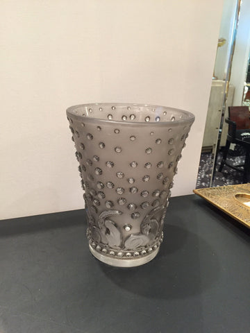 "R. Lalique ""Ajaccio"" Pattern Frosted Gray Glass Vase, France, ca. 1938, signed"