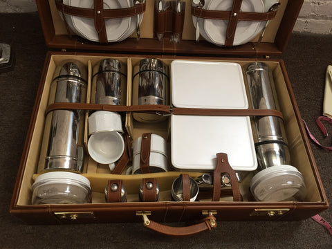 A German Leather Cased Picnic Set, Travel Companion, last quarter 20th century