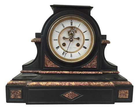 French Black and Red Marble Mantel Clock with Outside Escapement, retailed by Bigelow & Kennard of Boston,  attributed to Japy Freres et Cie, Paris, ca. 1890