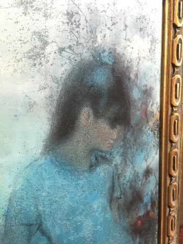 Hu Chi-Chung (胡奇中 Hu QiZhong) (Chinese, 1927-2012), Untitled (Woman in Blue), 1967, oil on canvas with texture, signed and dated