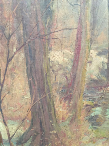 Hal Robinson (American, 1875-1933), Forest stream in winter, oil on canvas, signed