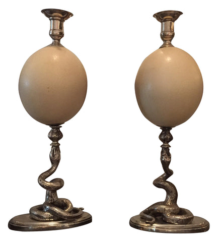 Pair of Silver-Metal Mounted Ostrich Egg Candlesticks, retailed by Cartier, 20th century