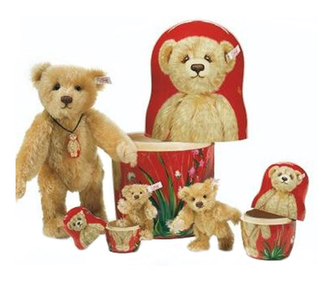Steiff Matrioschka Teddy Bear Set, Germany, 2005, with Certificate of Authenticity and original box