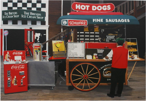 "Mark Schiff (American, b. 1954), ""Hot Dog Cart On The Jersey Shore"", 2004, oil on canvas, signed"