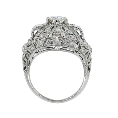 Filigree Platinum and Diamond Ring