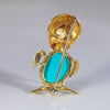 18K Yellow Gold, Turquoise and Cultured Pearl Bird-Form Brooch