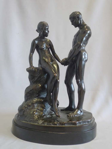 "Carl Max Kruse (German, 1854-1942), ""Junge Liebe"" (Young Love), patinated bronze figural sculpture on alabaster base"