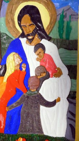 Leroy Almon (American, 1938-1997), Jesus Blessing the Children, a painted and carved panel, 1981