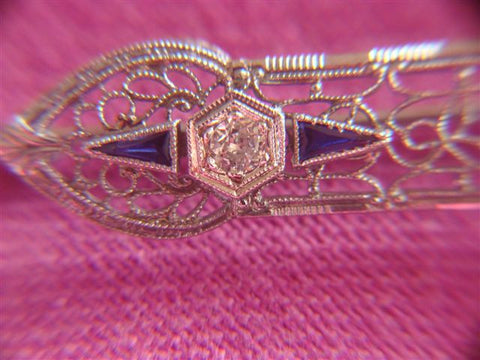 Edwardian Style 14K White Gold, Diamond and Sapphire Pin